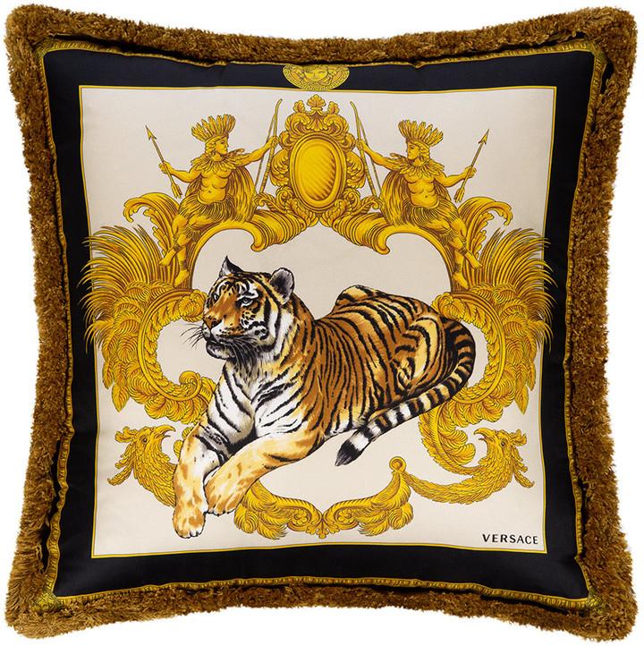 Versace Tigris Reversible Cushion - Black/Gold/White/Red - 45x45cm