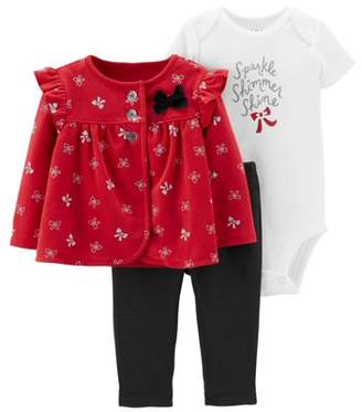 Carter's Child Of Mine By Child of Mine by Baby Girl Long Sleeve Cardigan, Short Sleeve Bodysuit, and Pant Outfit Set, 3pc set