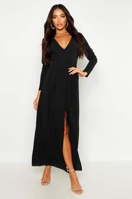 boohoo Woven V Neck Split Front Maxi Dress