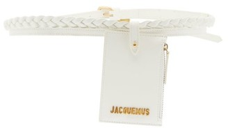 Jacquemus Braided Double-strap Leather Pouch Belt - White