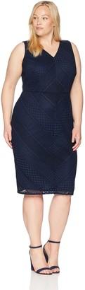 Adrianna Papell Women's Size Plus Vintage Stripe LACE Sheath Dress