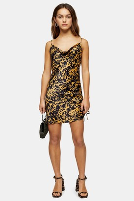 Topshop Womens Petite Mustard Animal Ruched Satin Slip Dress - Mustard