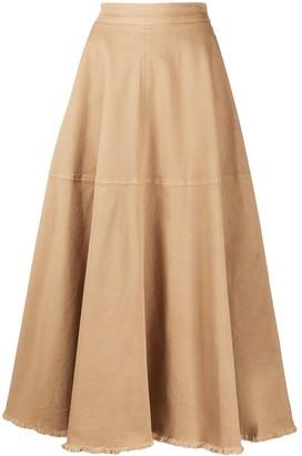 FEDERICA TOSI Fringed Hem Midi Skirt