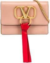 Valentino VLogo Ribbon Crossbody Bag in Rose & Red   FWRD