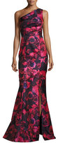 David Meister One-Shoulder Floral Jacquard Mermaid Gown, Pink/Navy