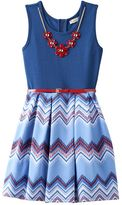 Knitworks Girls 7-16 Chevron Printed Skirt Skater Dress with Necklace