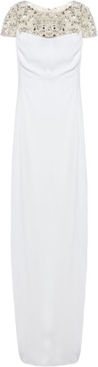 Jenny Packham Embellished Tulle-paneled Stretch-crepe Midi Dress