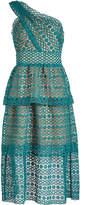 Self-Portrait Floral Chain Lace Asymmetric Midi Dress