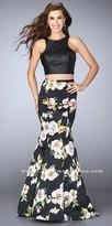 La Femme Two Piece Mikado Floral Print Racer Back Prom Dress