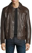 Andrew Marc Outpost Leather Bomber Jacket, Espresso