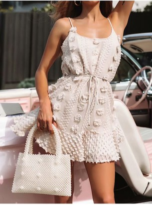 FS Collection Strappy Mini Dress With Flower Appliques In Cream
