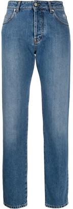 MSGM Broken-Heart Print Straight-Leg Jeans
