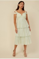 Thumbnail for your product : Little Mistress Bridesmaid Luana Lime Tiered Mesh Midi Dress