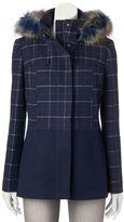 Juniors' Pink Envelope Faux-Fur Plaid Wool Jacket