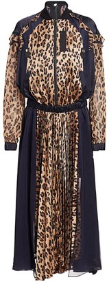 Sacai Leopard Satin & Chiffon Pleated Dress