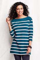 Lands' End Women's Tall 3/4-sleeve Starfish Stripe Boatneck Tunic
