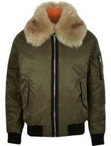 River Island MensGreen faux fur collar aviator jacket