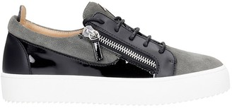Giuseppe Zanotti Frankie Sneakers In Grey Suede And Leather