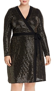 Leota Plus Kara Embellished Wrap-Front Dress