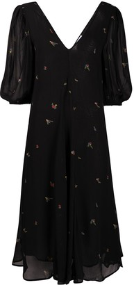 Ganni Floral-Print Puff-Sleeve Dress