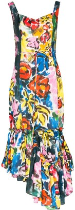 Marni Asymmetric Ruffled Floral-Print Midi Dress