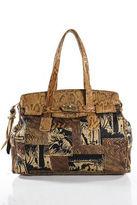 Saks Fifth Avenue Brown Leather Snakeskin Trim Tote Handbag