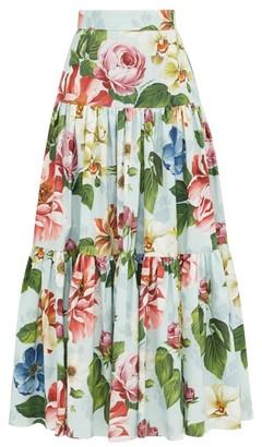 Dolce & Gabbana Rose-print High-rise Cotton Skirt - Womens - Blue Print