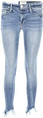 Frame Cropped Frayed Jeans