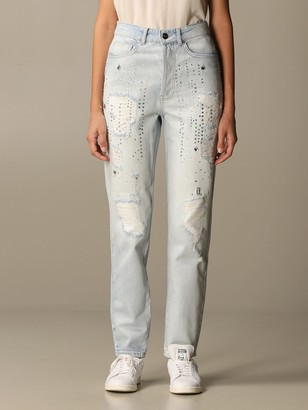 Be Blumarine Jeans In Denim With Tears And Rhinestones