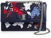 Salvatore Ferragamo Ginny Embroidered Denim Shoulder Bag