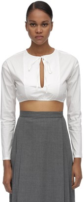 Maryam Nassir Zadeh Self Tie Collar Cotton Poplin Crop Top