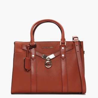 Michael Kors Large Hamilton Nouveau Burnt Orange Pebbled Leather Satchel Bag