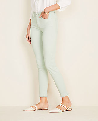 Ann Taylor Frayed Sculpting Pocket Skinny Crop Jeans In Icy Sage