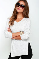LuLu*s Name the Day Heather Grey V Neck Sweater