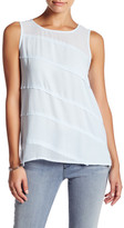 Vince Camuto Asymmetrical Tiered Mixed Media Blouse (Petite)