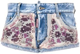 DSQUARED2 floral print embellished denim shorts