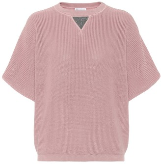 Brunello Cucinelli Embellished ribbed-knit cotton sweater