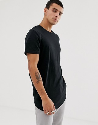 Jack and Jones Originals longline curved hem t-shirt in black