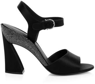 Salvatore Ferragamo New Geo Runway Swarovski Crystal Studded Block-Heel Sandals