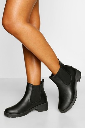 boohoo Wide Fit Stud Detail Chunky Chelsea Boot