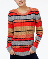 Tommy Hilfiger Cecelia Striped Cable-Knit Sweater, Only at Macy's