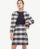 Ann Taylor Gingham Side Button Skirt
