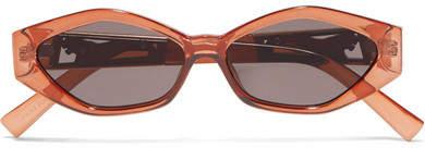 Le Specs Jordan Askill Petit Panthère Cat-eye Acetate And Gold-tone Sunglasses - Brown