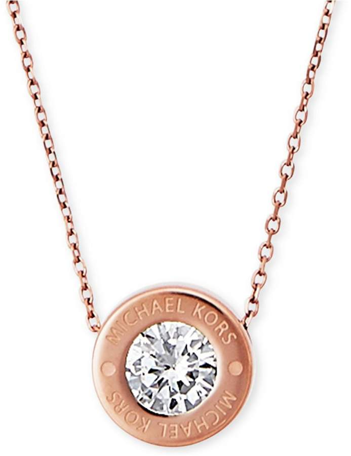 """Michael Kors 16"""" Bezel Set Crystal Logo Pendant Necklace"""