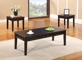 King's Brand 3 Pc. Cherry Finish Wood Coffee Table and 2 End Tables Occasional Set
