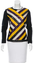 Jason Wu Striped Leather-Accented Top