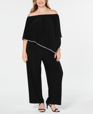 MSK Plus Size Off-The-Shoulder Overlay Jumpsuit