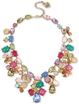 Betsey Johnson Gold-Tone Multicolor Stone and Crystal Statement Necklace
