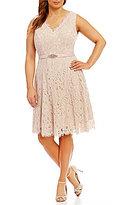 Jessica Howard Plus V-Neck Lace Midi Dress