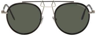 Calvin Klein Black Round Clip Bridge Sunglasses